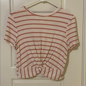 White and Red Striped Crop Top
